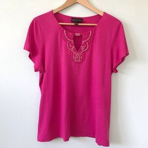 Dana Buchman Dark Pink Beaded Keyhole Summer Top